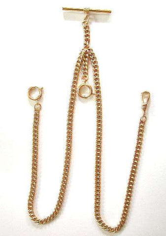 14K GF Double Albert Pocket Watch Chain--New Stock--Made in USA