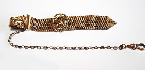 Vintage Gold Filled Mesh Pocket Watch Fob Chain