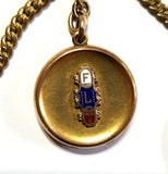Vintage Double Albert Sliding Pocket Watch Chain with Enameled Odd Fellows FLT Fraternal Locket Fob