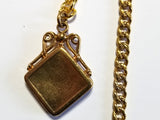 Vintage Yellow Gold Filled Pocket Watch Chain  T-bar and Fob with an Anchor Design