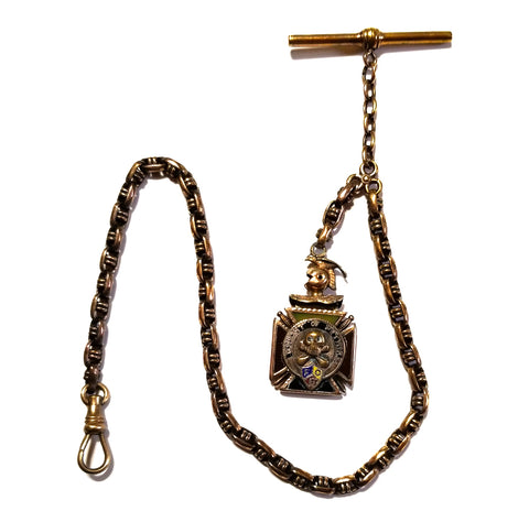 Antique pocket watch chain with t bar and Knights of Pythias fob