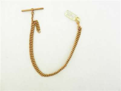 Vintage Gold Plated Heavy Pocket Watch Chain w/ T-Bar and Swivel