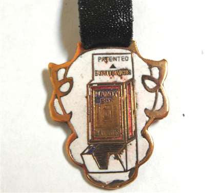 Antique Handy Box Matches Advertising Watch Fob with Black Leather Strap, Gold Trimmed with Enamel
