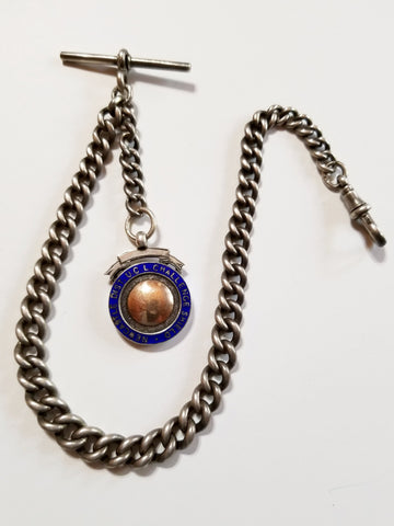 Antique Sterling Silver Albert Watch Chain with Fob