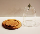 Glass watch dome with handmade red cedar base and gold top with hook