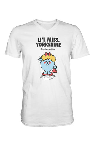 Li'l Miss Yorkshire V-Neck white Yorkshire T-Shirt