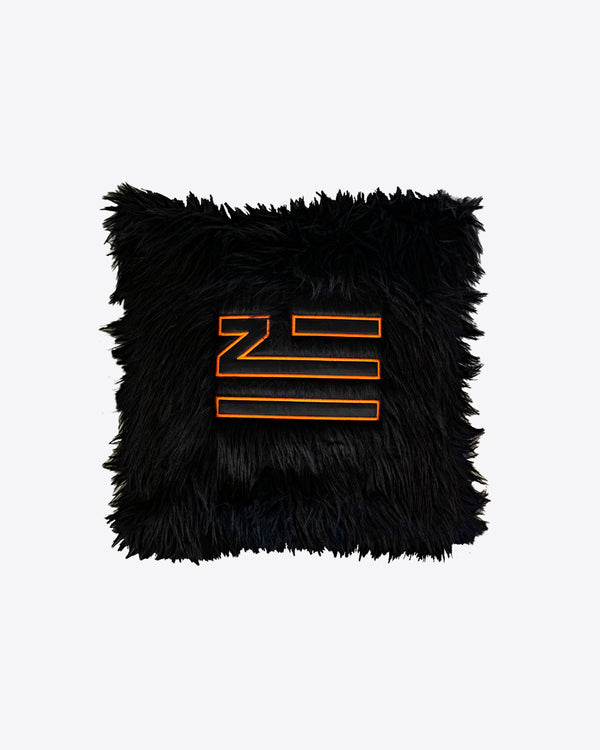 BLACK FAUX FUR PILLOW