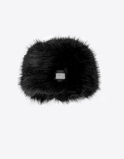 BLACK FAUX FUR HAT