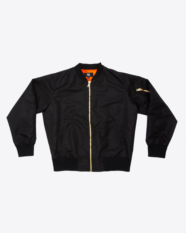 BLACK BOMBER JACKET WITH GOLD ACCENT LOGO