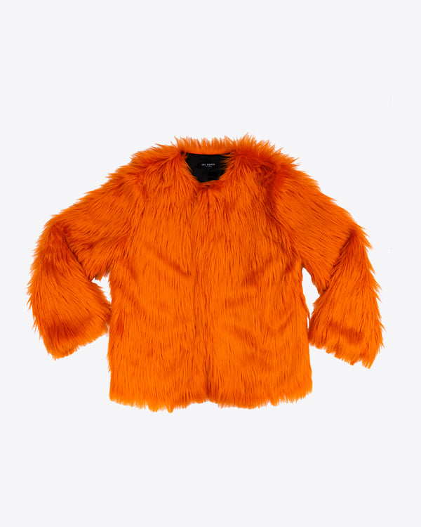 ORANGE FAUX FUR COAT