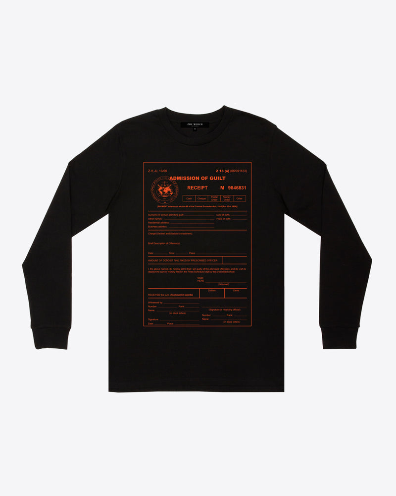 ADMISSION OF GUILT LONG SLEEVE TEE
