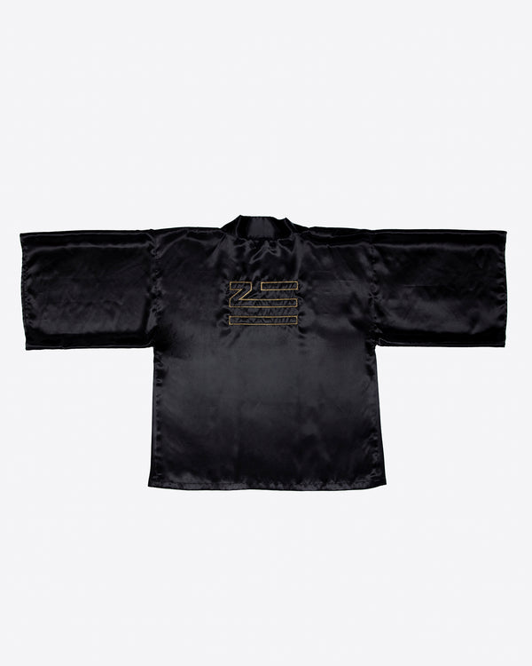 SATIN KIMONO WITH GOLD EMBROIDERY