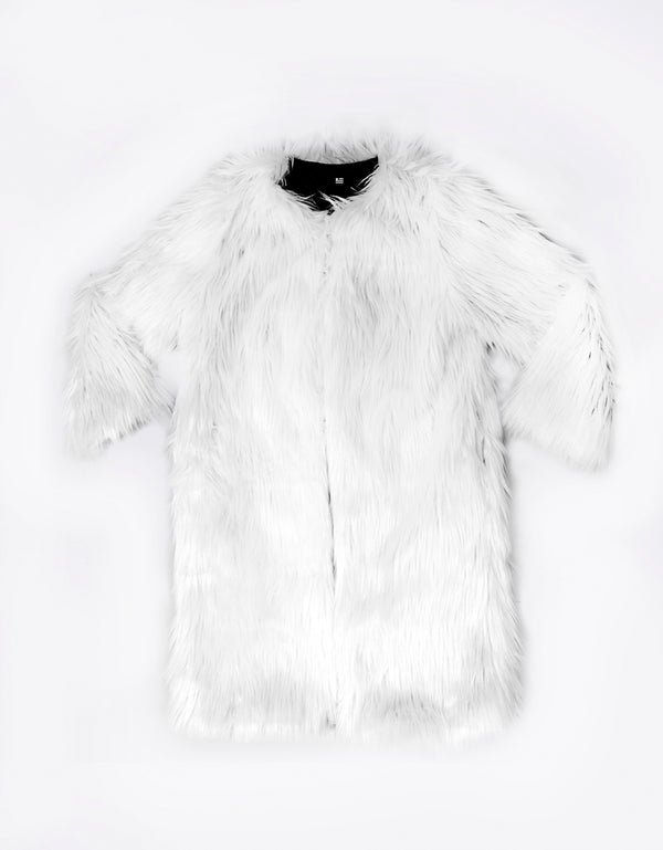 WHITE LONG FAUX FUR COAT