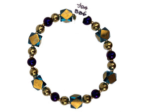J.O.A - Bracelet with golden and purple beads