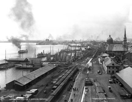 Harbour from C.P.R. elevator, Montreal, QC, about 1885