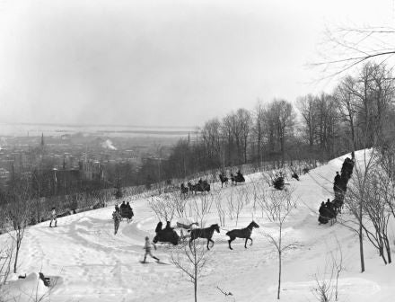 Tandem drive on Mount Royal Park, Montreal, QC, about 1890
