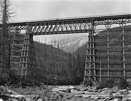 Mountain Creek bridge, on the C.P.R., BC, 1889