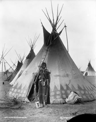 Young Blackfoot brave near Calgary, AB, 1889