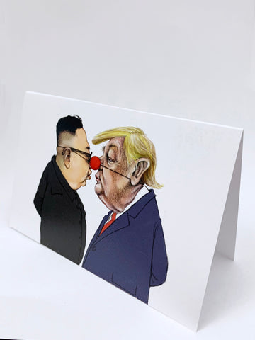 Donald Trump and Kim Jeong-Un greeting card