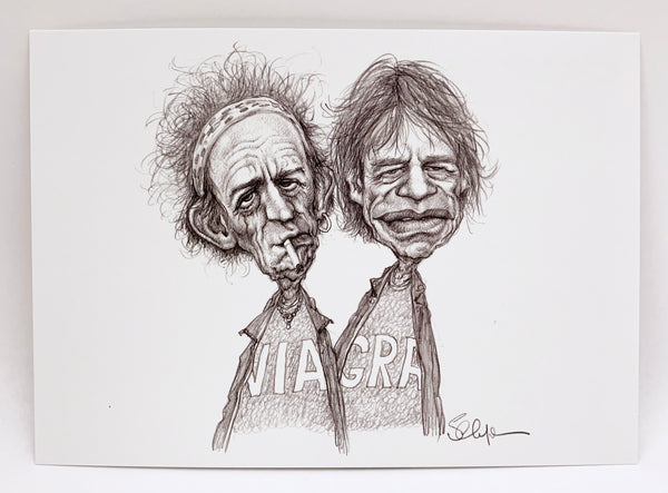 Keith Richards and Mick Jagger postcard