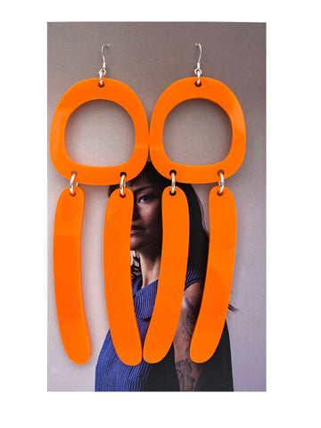 Warren Steven Scott Double Bar Earrings in Orange