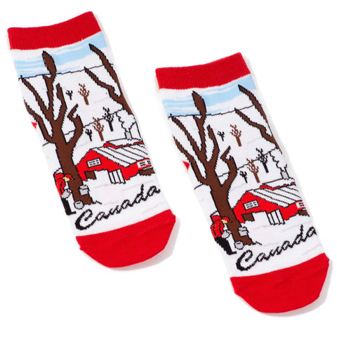 Childrens Canadian Maple Syrup Can Socks