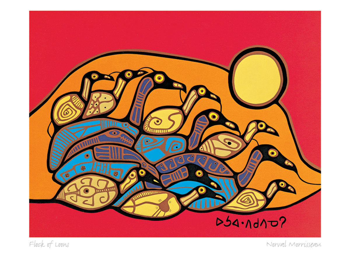 Flock of Loons by Norval Morrisseau Print