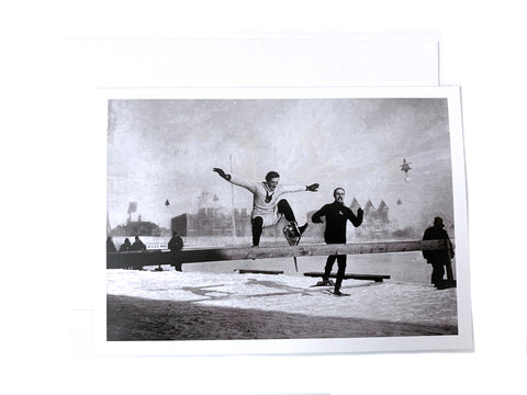 Notman Greeting Card: Hurdle race on Snowshoes