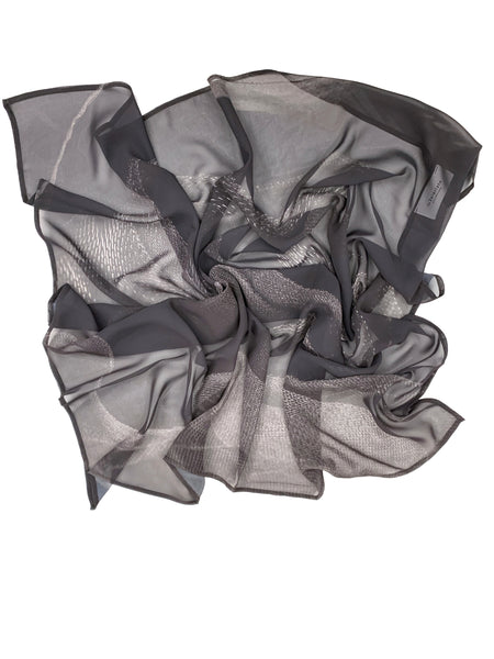 Dior Inspired McCord Chiffon Square; Black Ruffles