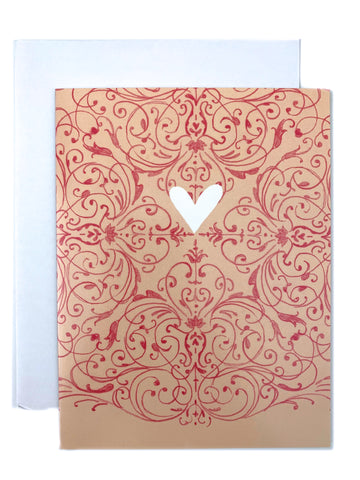Beige Baroque Heart Card