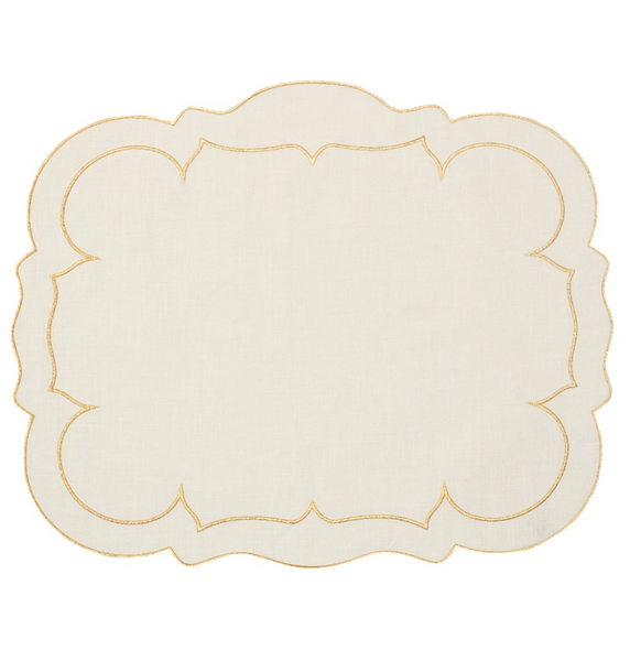 Skyros Linho Scalloped Rectangular Linen Mat Ivory w/ Gold