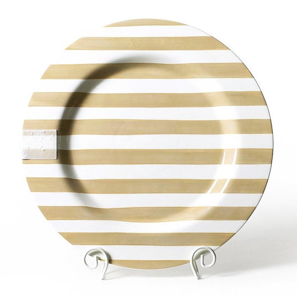 Happy Everything Neutral Stripe Big Entertaining Round Platter