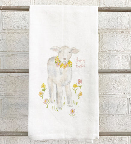 Watercolor Lamb with Flowers Tea Towel