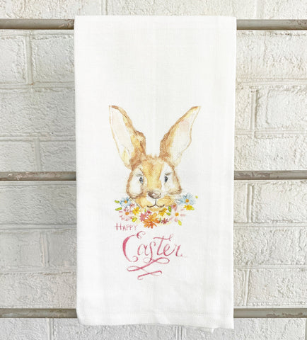 Watercolor Rabbit Face with Flowers Tea Towel