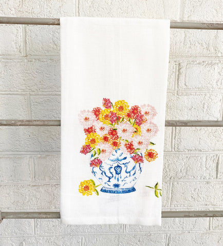 Watercolor Ginger Jar with Zinnias Tea Towel