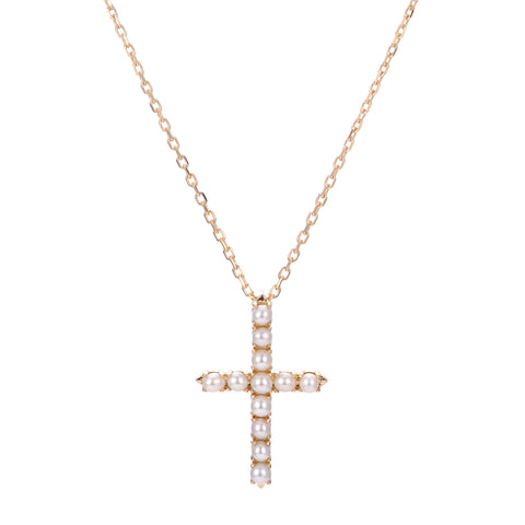 14KT Yellow Gold Seed Pearl Cross Necklace
