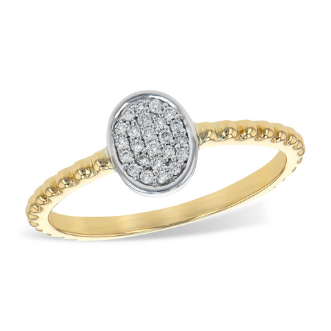 14 KT Yellow Gold and Round Diamond Ring