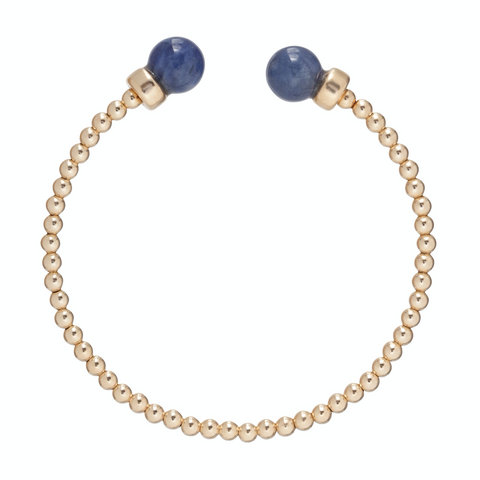 enewton Classic Gold 3mm Bead Cuff - Sodalite