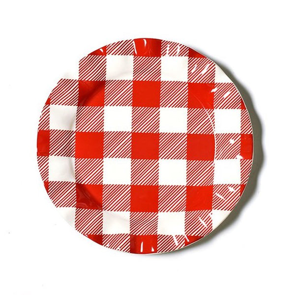 Coton Colors Buffalo Ruffle Dinner Plate, Red