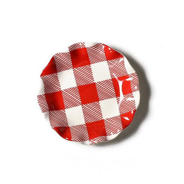 Coton Colors Buffalo Ruffle Salad Plate, Red