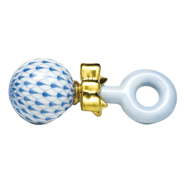 Herend Baby Rattle, Blue