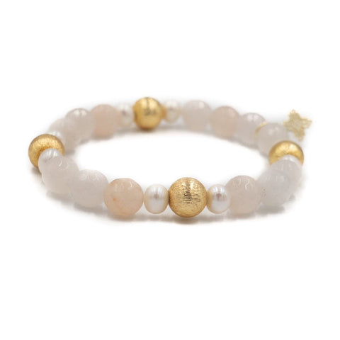 Hazen & Co. Blossom Bracelet, Pink Aventurine and Pearl