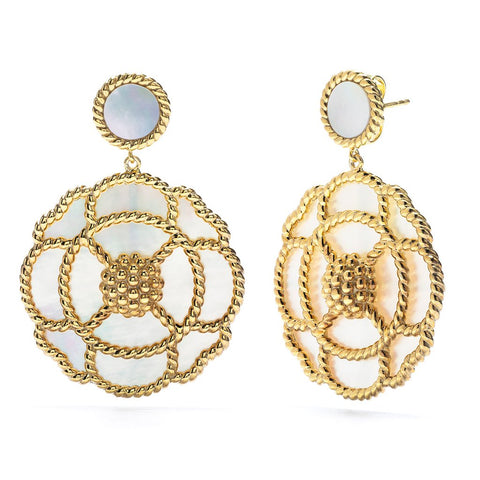 Capucine de Wulf Grand Capucine Earrings, Mother of Pearl