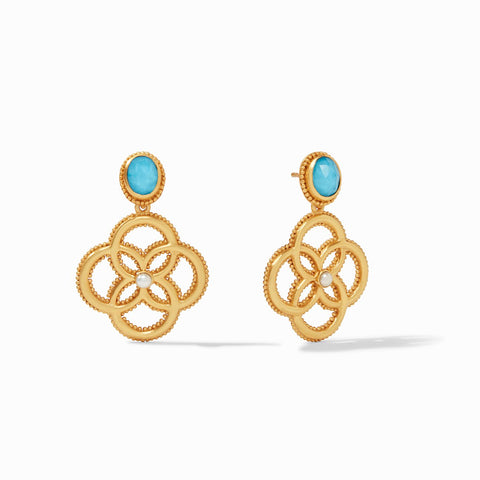 Julie Vos Chloe Demi Earring, Iridescent Pacific Blue