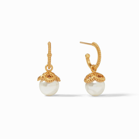 Julie Vos Chloe Pearl Hoop and Charm Earring