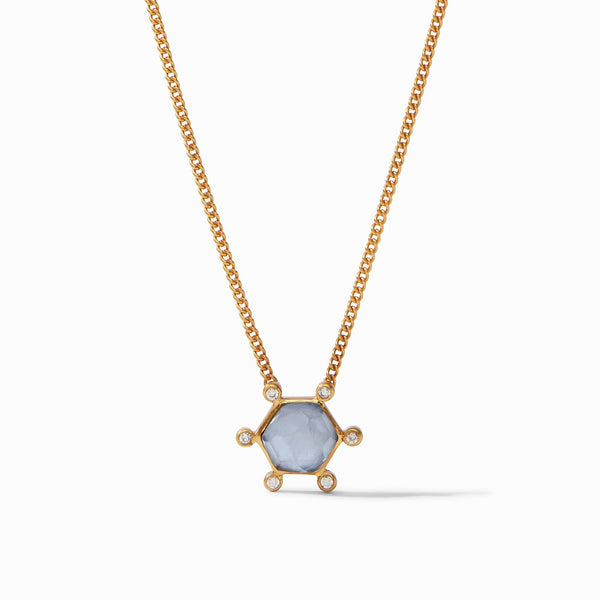 Julie Vos Cosmo Solitaire Necklace, Iridescent Chalcedony Blue