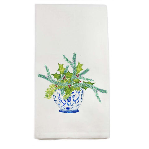 Watercolor Blue and White Jar with Greens Tea Towel