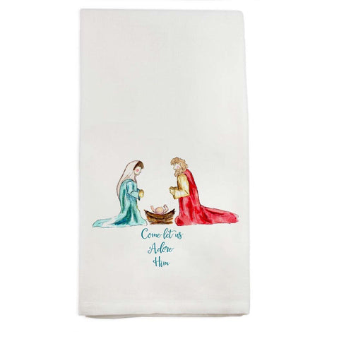 Come Let Us Adore Him Tea Towel