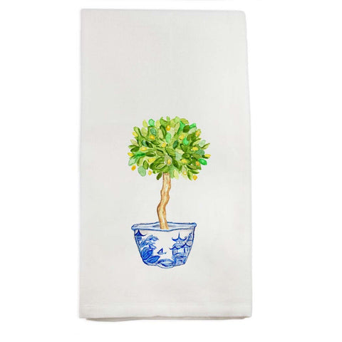 Lemon Tree in Blue and White Pot Tea Towel