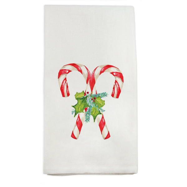 Candy Cane with Greenery Tea Towel